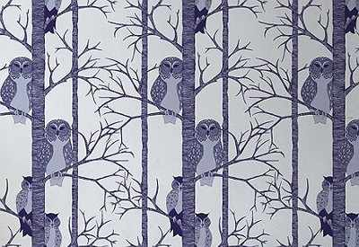 Papier peint chouettes bleu prune -The Owls plum- TapetenAgentur