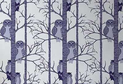 Papier peint chouettes bleu prune -The Owls plum- TapetenAgentur