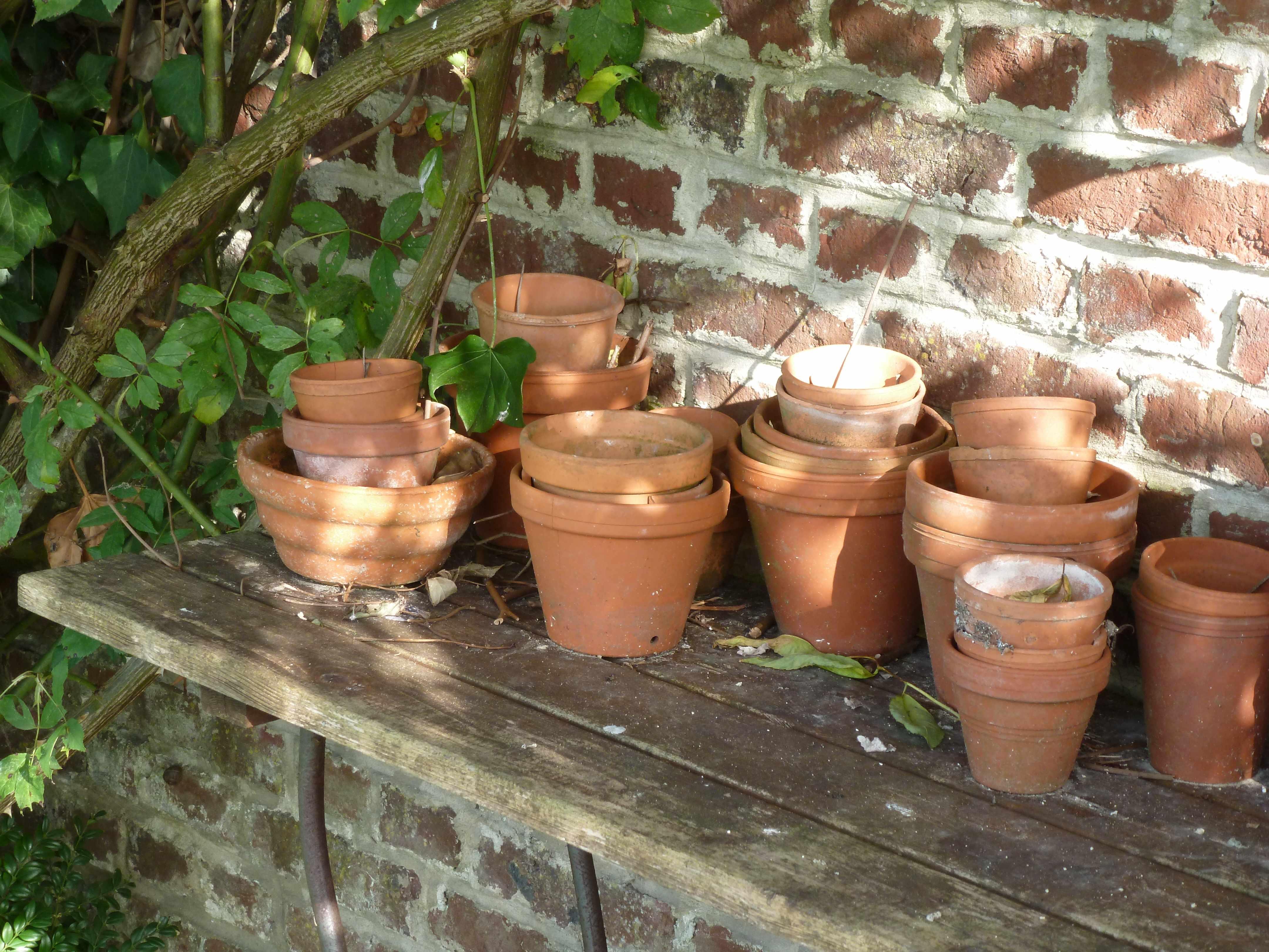 Pots fleurs jardin terre cuite