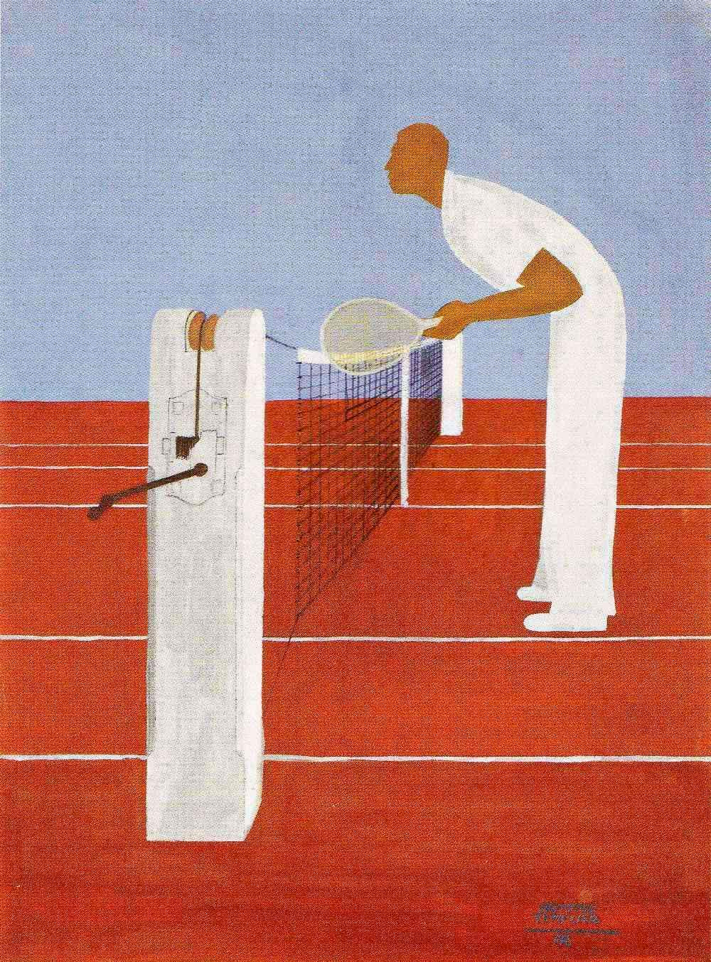 Gouache tennis Petra au filet Raymond Templier 1943