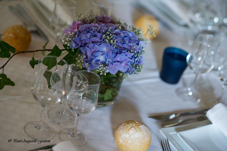 Deco de table mariage bouquet bleu