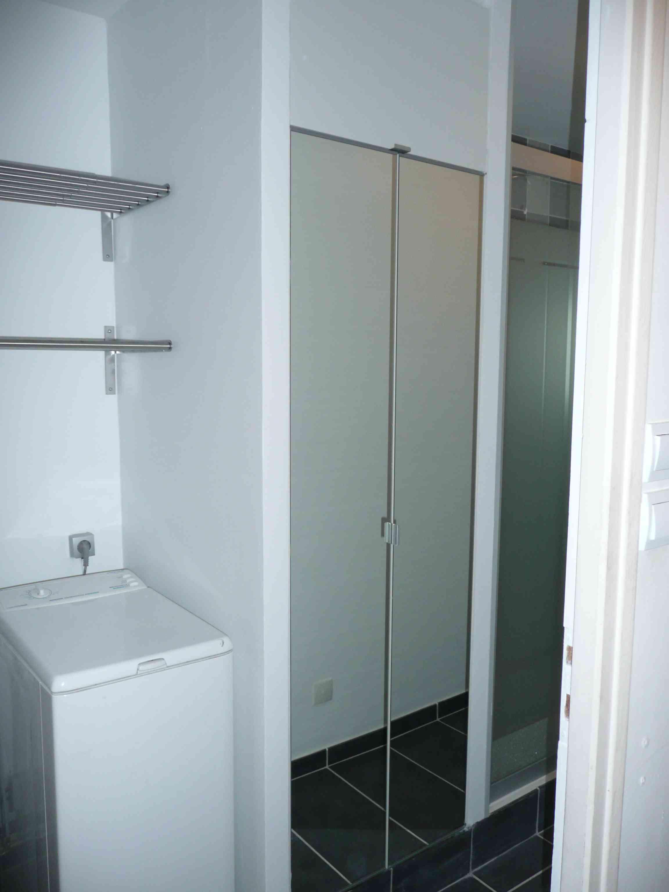 Salle de bain Lille gris placard-miroir buanderie