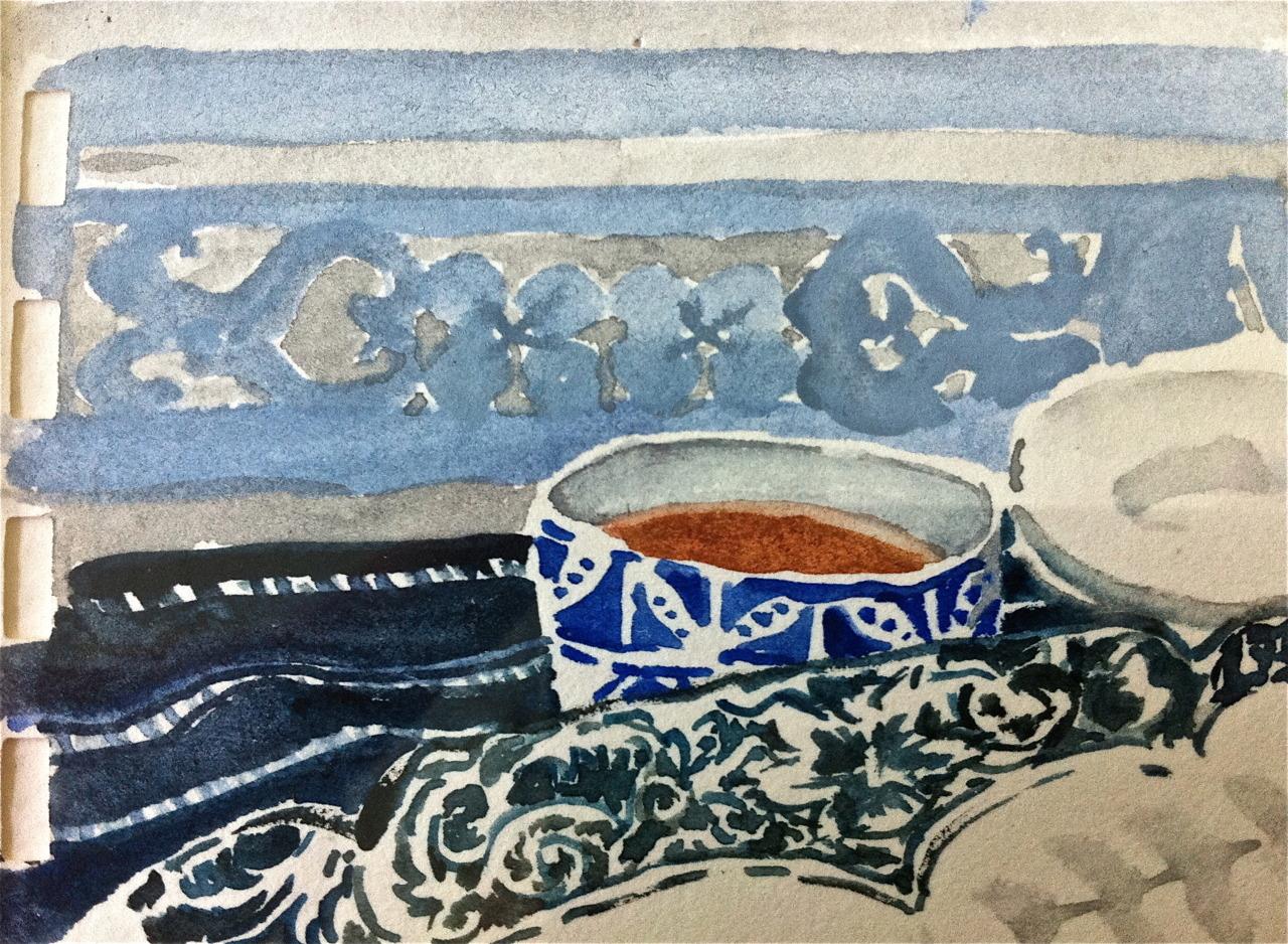 bols frise bleue peinture Aurore Janon