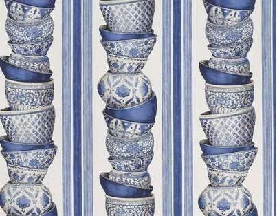 tissu Pierre Frey Ming bols bleus