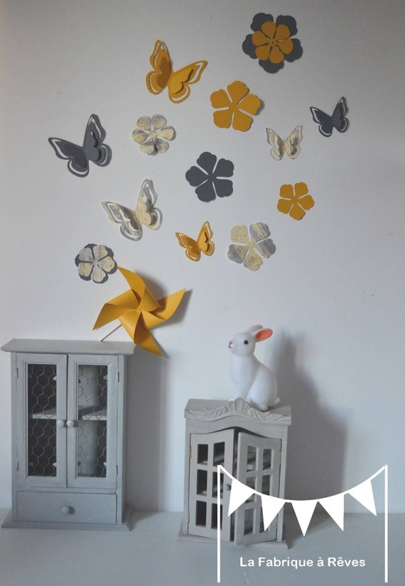 Chambre Bebe Mixte Gris Jaune DeKoBook Decorations  Murales Stickers Papillons Et Fleurs Gris La
