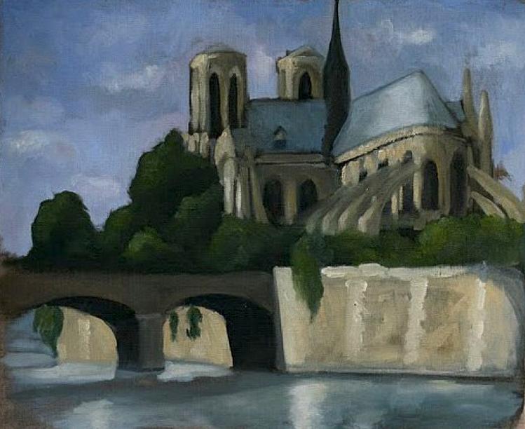 Notre-Dame de Paris huile-sur-toile Cariline d-Avout