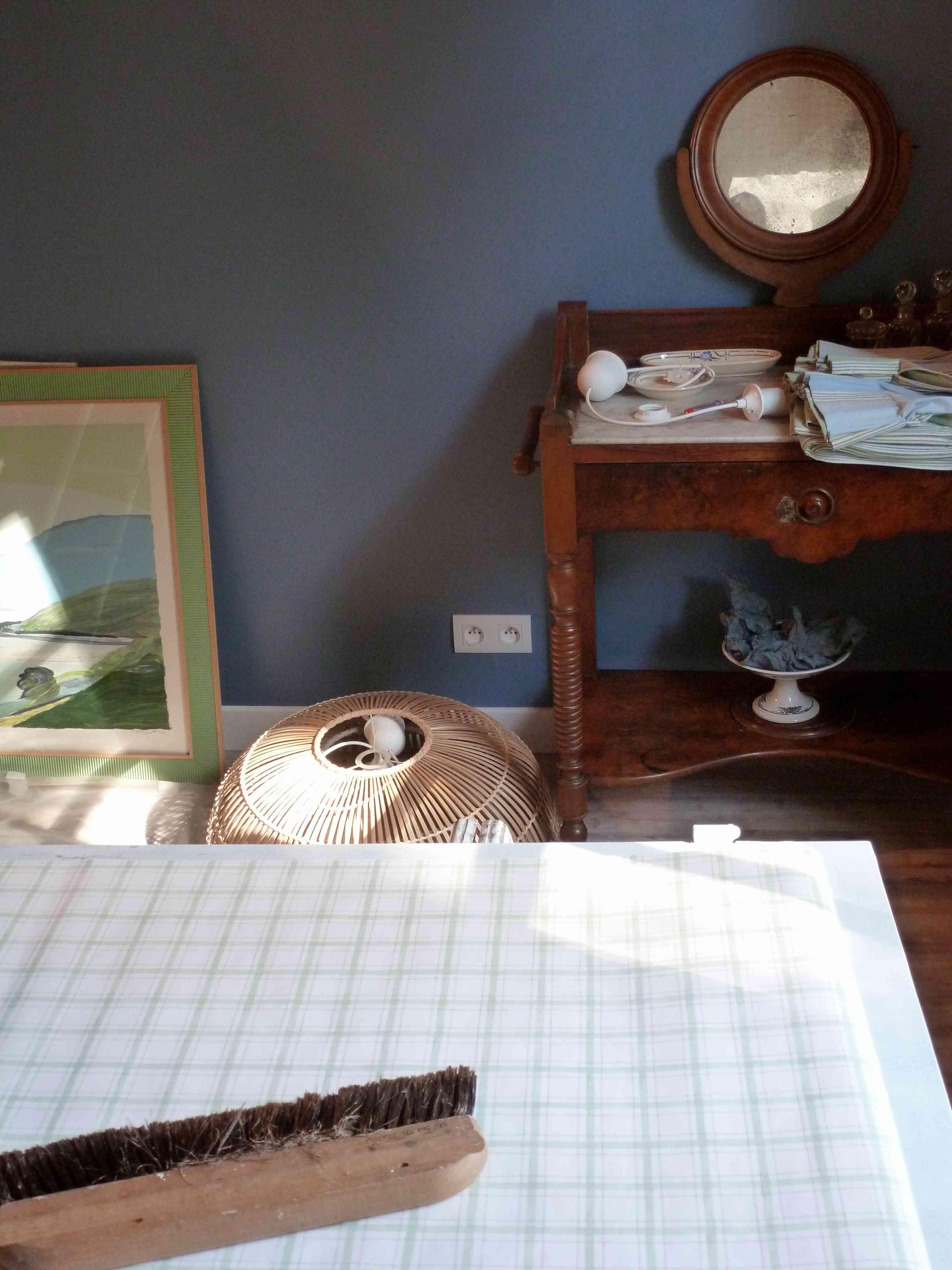 Chambre bleu-vert A-tous-les-etages papier-peint-carreaux
