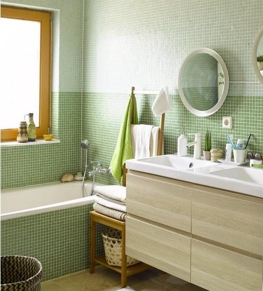 green bathroom Ikea