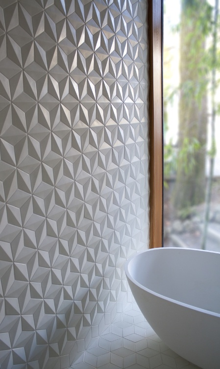 Origami pliages aux murs for Carrelage relief
