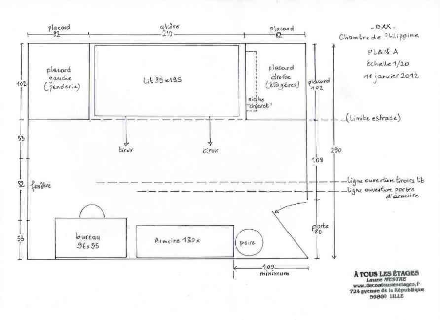 Plan d'agencement de la chambre de jeune fille