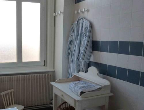 Salle de bain blanc bleu à Lille