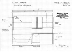 Plan en élévation de la salle de bain