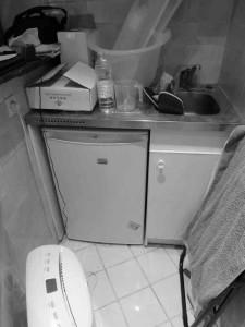 Ancienne kitchenette fusionnée avec la nouvelle SDB