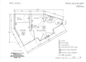 Plan des salle d'eau et kitchenette d'origine