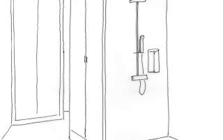 Dessin projet douche et placards Lille 2013