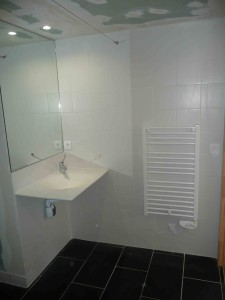 Salle d'eau (presque) finie : lavabo handicapés Bréti 2015