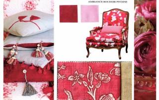 Planche ambiance boudoir pivoine