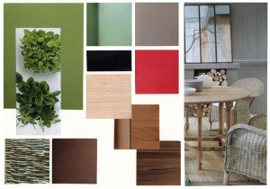 planche ambiance nature vert-brun-rouge