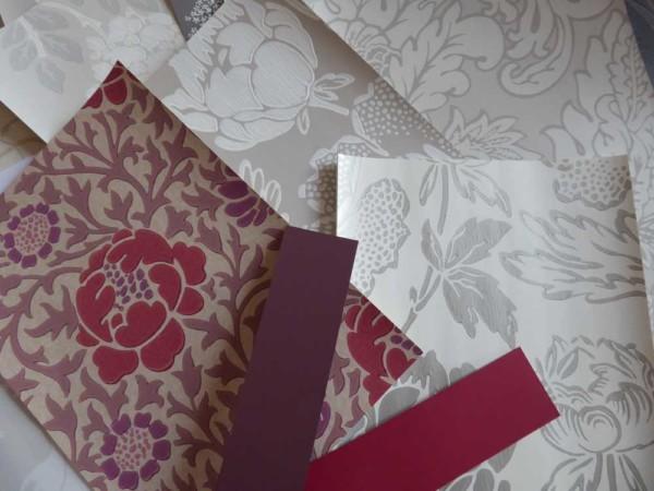 A tous les etages Projet Art nouveau essai papier peint pivoines