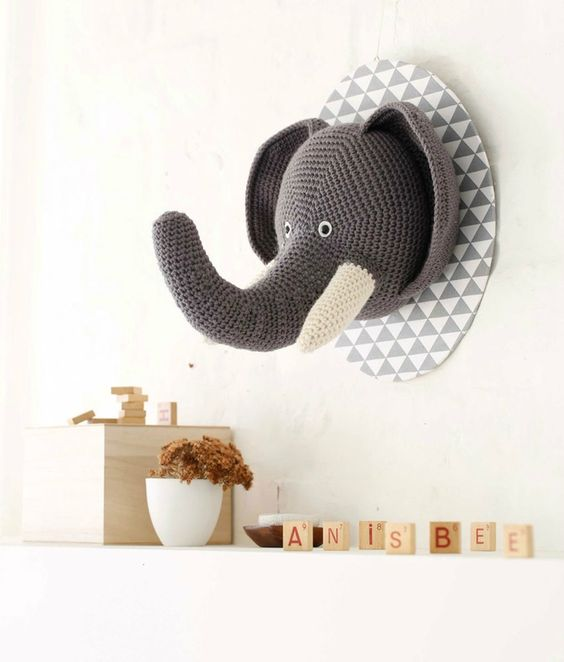 Trophée Eléphant - Crochet Déco - Anisbee_Pinterest