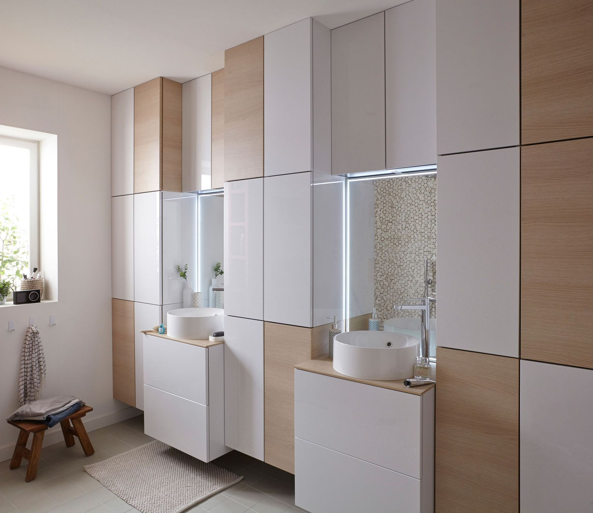 Double vasque for Mur salle de bain leroy merlin