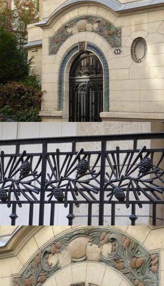 Atouslesetages_conseil-deco_Boulogne_24_rue_Tourelle_1913_decor_ceramique_fer_forge_pin