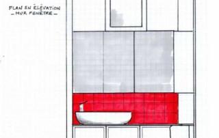 Elévation projet micro SDE -faïence rouge et rangements avec miroirs