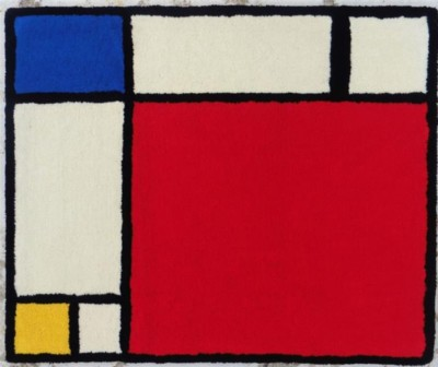 Mondrian-tapis-dart-rectangle-dor