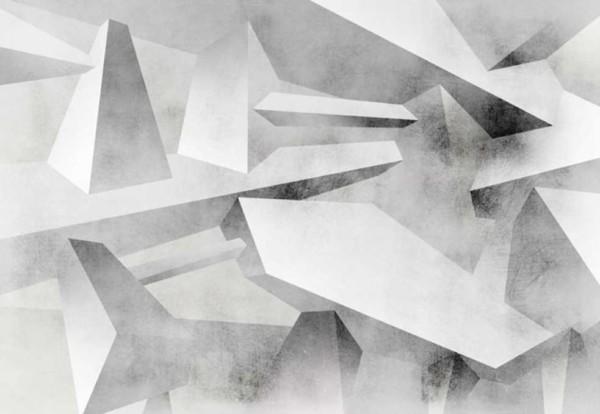 Papier peint panoramique 3D blanc et gris Pulsion