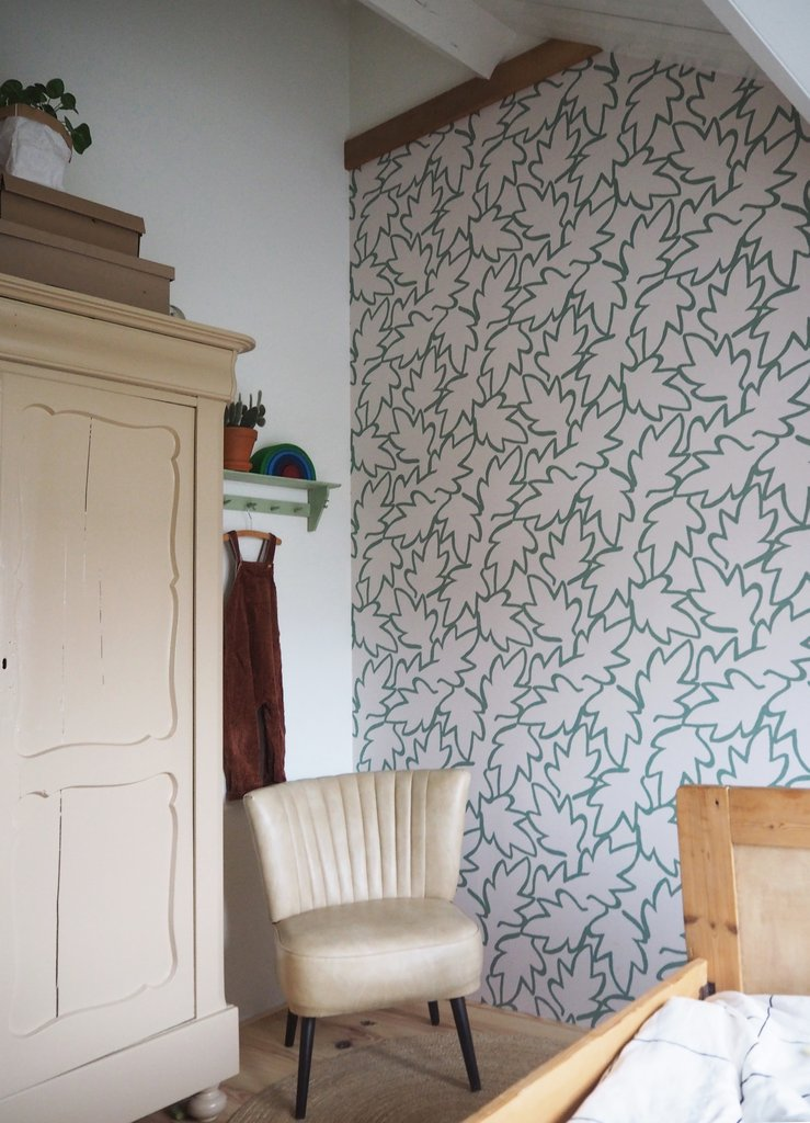 PP_feuilles-stylisees_Behang-Autumn-Leaves-green_Roomblush