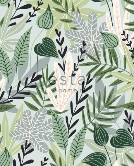 papier-peint-xxl-esta-home-jungle-fever-feuilles-scandinaves-vert-menthe-158894