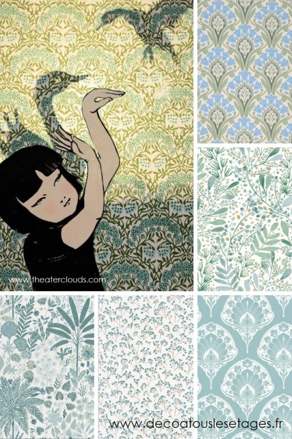 Blog_Atouslesetages_papiers-peints-jardin-imaginaire_enfant_fleurs-oiseaux_illustration-Elly-MacKay_bleu-vert