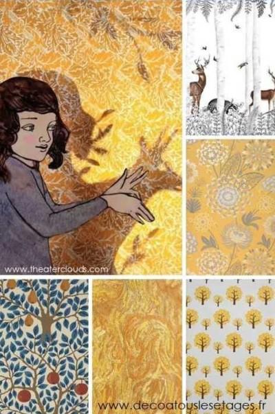 Blog_Atouslesetages_papier-peint-imaginaire_enfant_automne_cerf_illustration-Elly-MacKay_jaune_mosaique