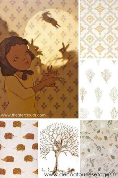 Blog_Atouslesetages_papier-peint-imaginaire_enfant_automne_lapin_illustration-Elly-MacKay_jaune_brun_mosaique